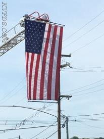 KVFD proudly displays our nation's Flag at today's 11th Annual Cpl Brandon Hardy Memorial Ride