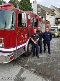 FF Josh Jones, FF/EMT Phil Moore and FF/Paramedic Jared Dalmas staffing Engine 8-1 today in Marshalton.