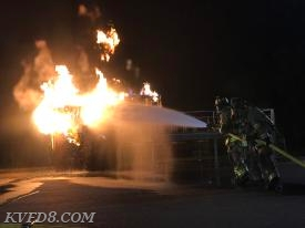 Flammable liquids training at the CCPSTC.   Photo by J. Schreiber