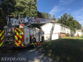 Ladder 8 at the chimney fire in West Caln.