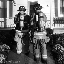FF Crockett and FF Jones investigating a recent CO alarm.   Photo by FF/EMT Devoe