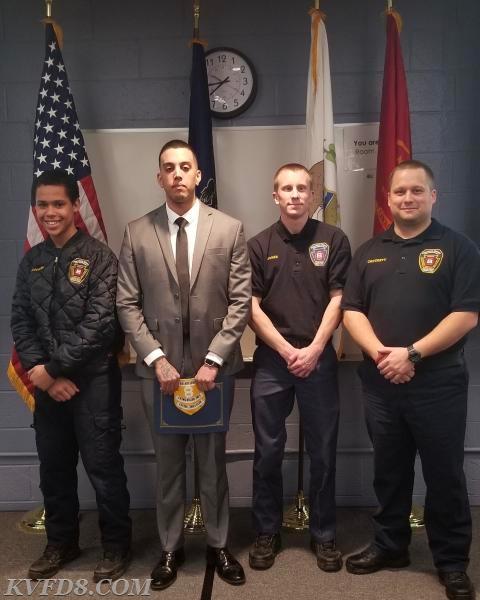 Left to right: Jr. Capt. Michael Lavender, FF Velez, Lt. Jones and FF Crockett