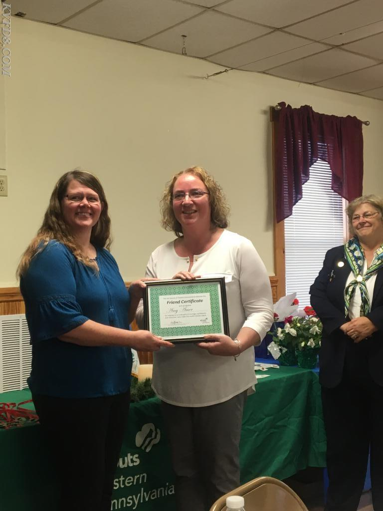 Amy Amer, Chester County DES, receiving an award.