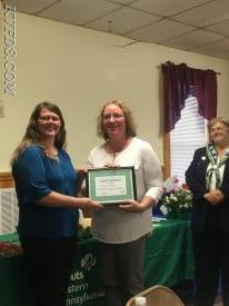 Amy Amer, Chester County DES, receiving an award.