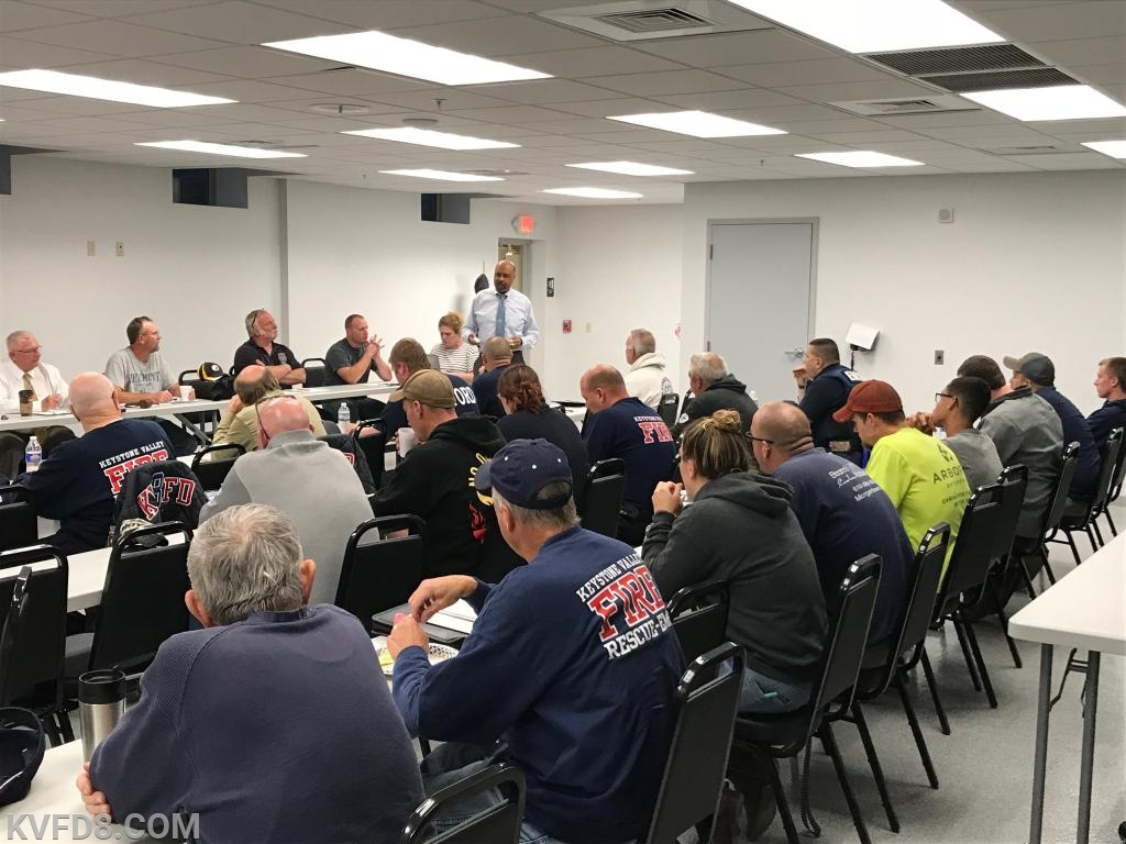Commissioner Terence Farrell addresses KVFD members at last night's meeting.