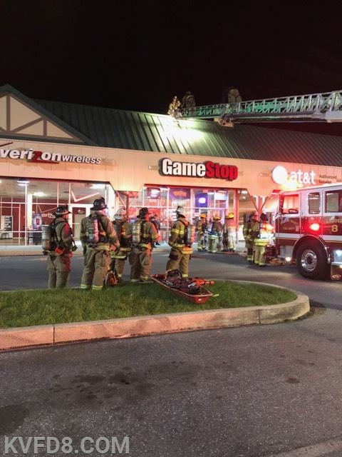 Firefighters at GameStop last night  Photos by K. Baker