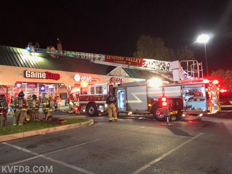 Firefighters at GameStop last night.  Photos by K. Baker