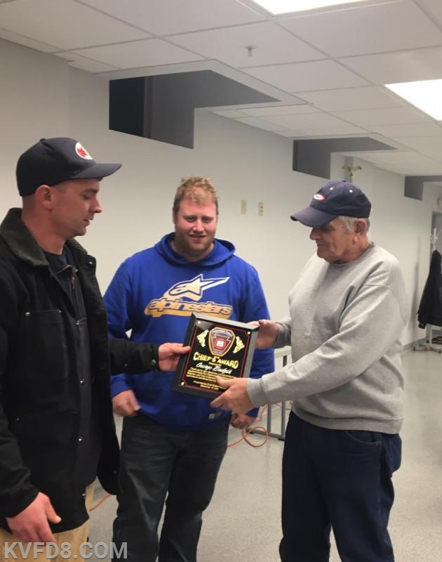 Deputy Chief Schreiber and Chief Cazillo present an award to FF George Budzik (L-R) George is our longest currently serving active FF. He was recognized with the 2018 Chief's Award.