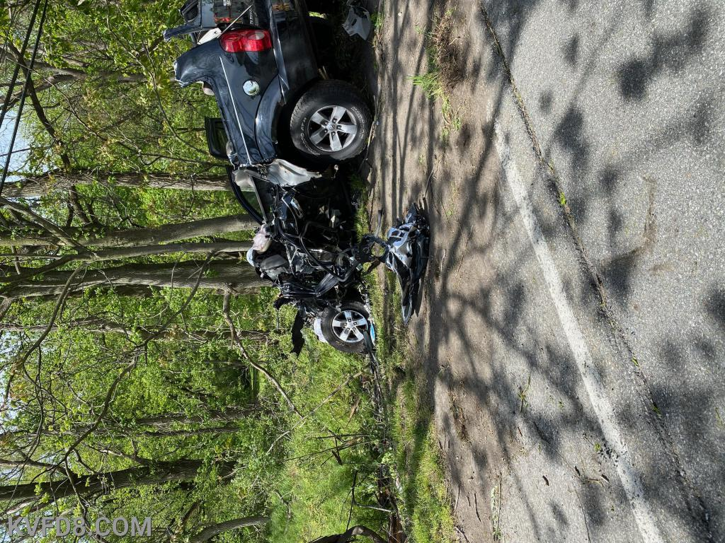Single vehicle crash into a tree injures three.