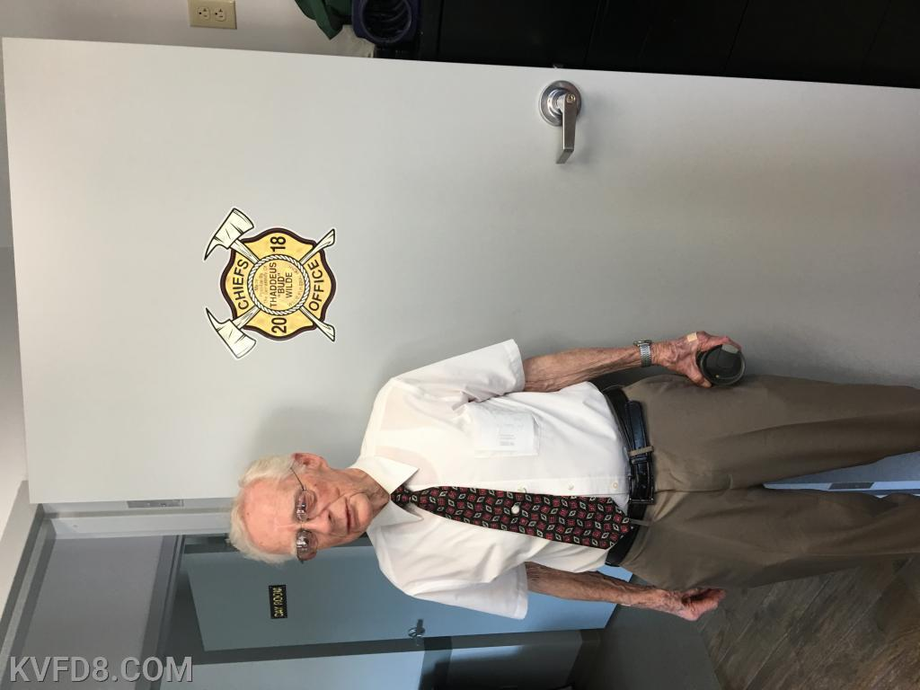 Past chief Wilde checking out the office dedicated to him for all his contributions to the community.