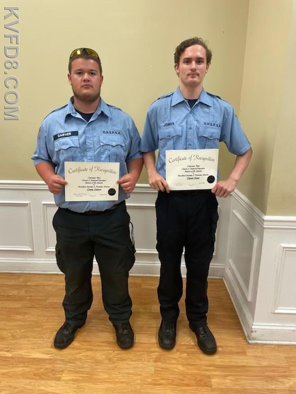 Junior Firefighters Cory Garver and David Jones