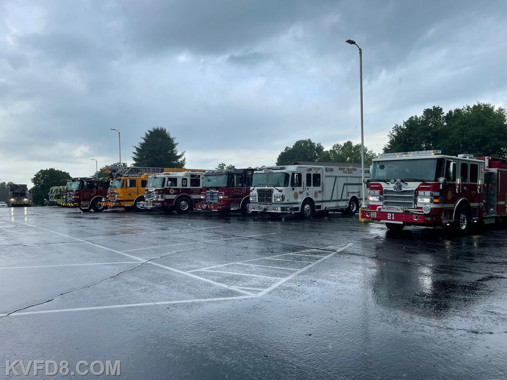 Graduates' fire companies line up at the Wagontown Fire Co.