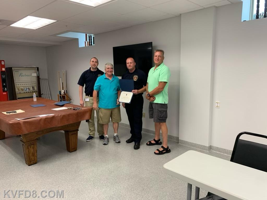 Matt Patzek the resident by-stander and nurse who performed life saving measures with Chief Gathercole, EMS Manager Miles and John