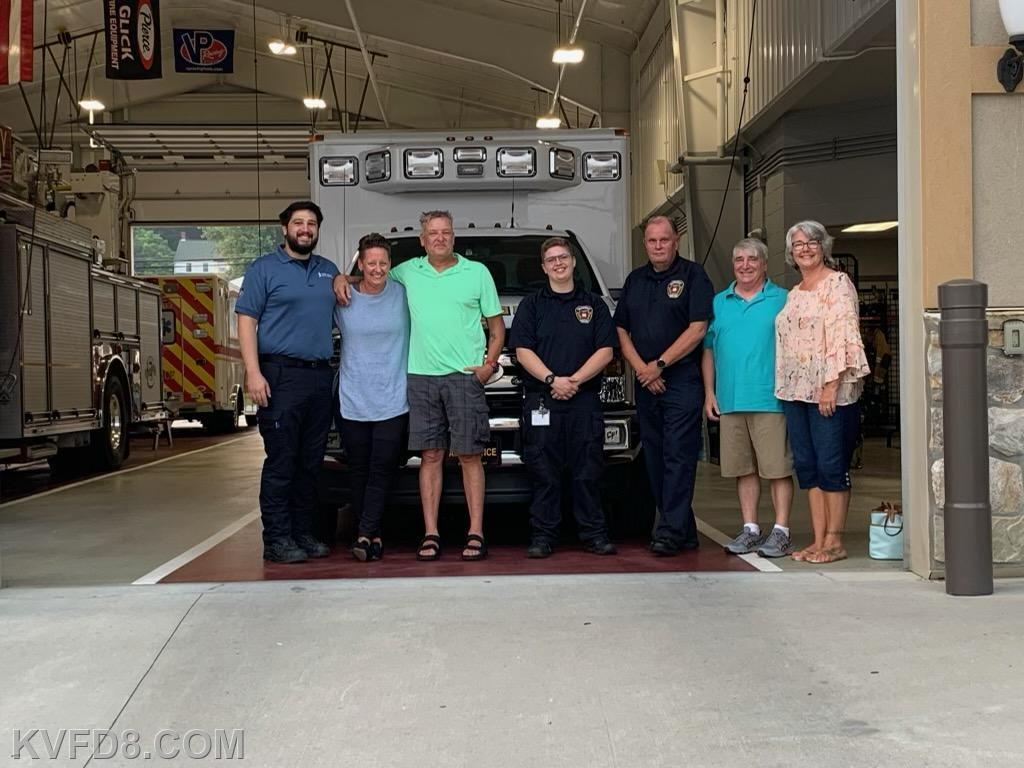 CPR Survivor John and his girlfriend Ilycia Hanney with Paramedic Bismuth, EMT Rohrbach, Supervisor Degnan and Matt Patzek and his wife