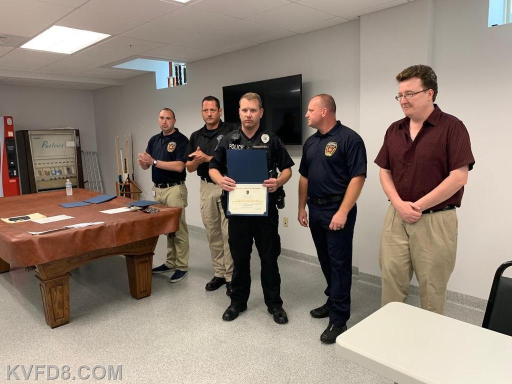 West Sadsbury Officer McCullough along with Chief Fidler, EMS Manager Miles, Chief Gathercole and West Sadsbury Twp. Supervisor Ed Haas