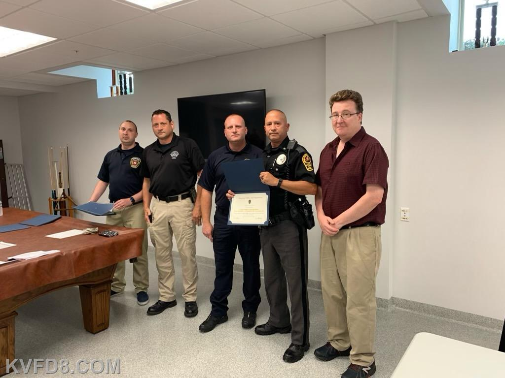 Officer Sasso of West Sadsbury Police Department with Chief Fidler and Township Supervisor Ed Haas and Chief Gathercole and EMS Manager Miles