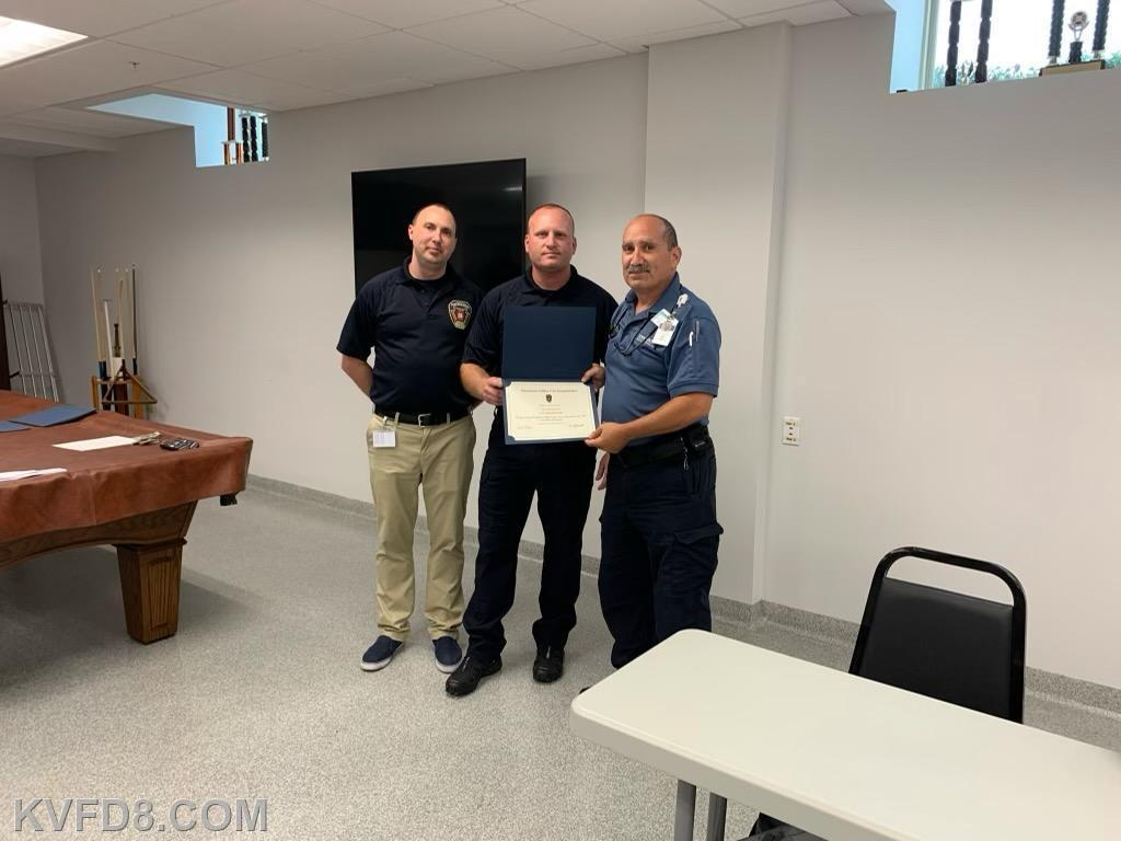 Paramedic Ron Sigismonti of Tower Direct along with EMS Manager Miles and Chief Gathercole