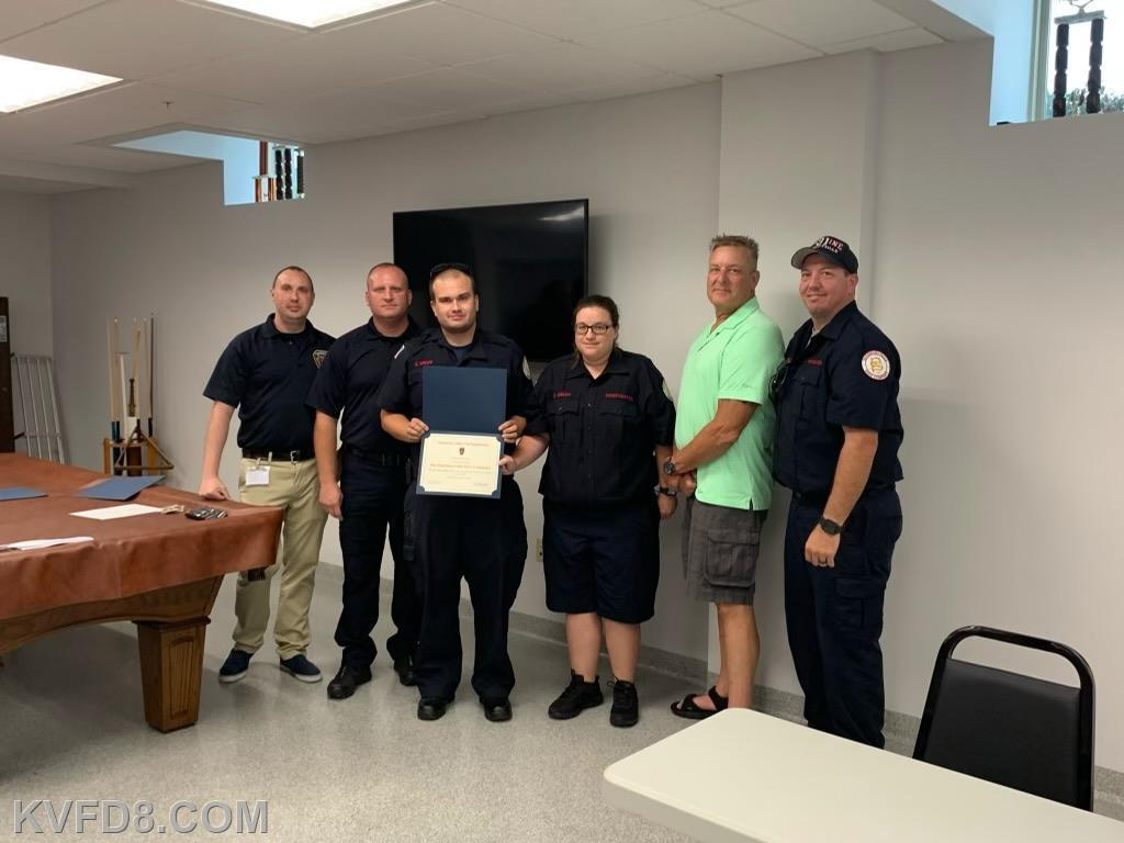 Sadsburyville Fire Company receiving recognition and accepting on their behalf was Lt. Rust and Dawn and Zach Groff with the patient John and KVFD personnel
