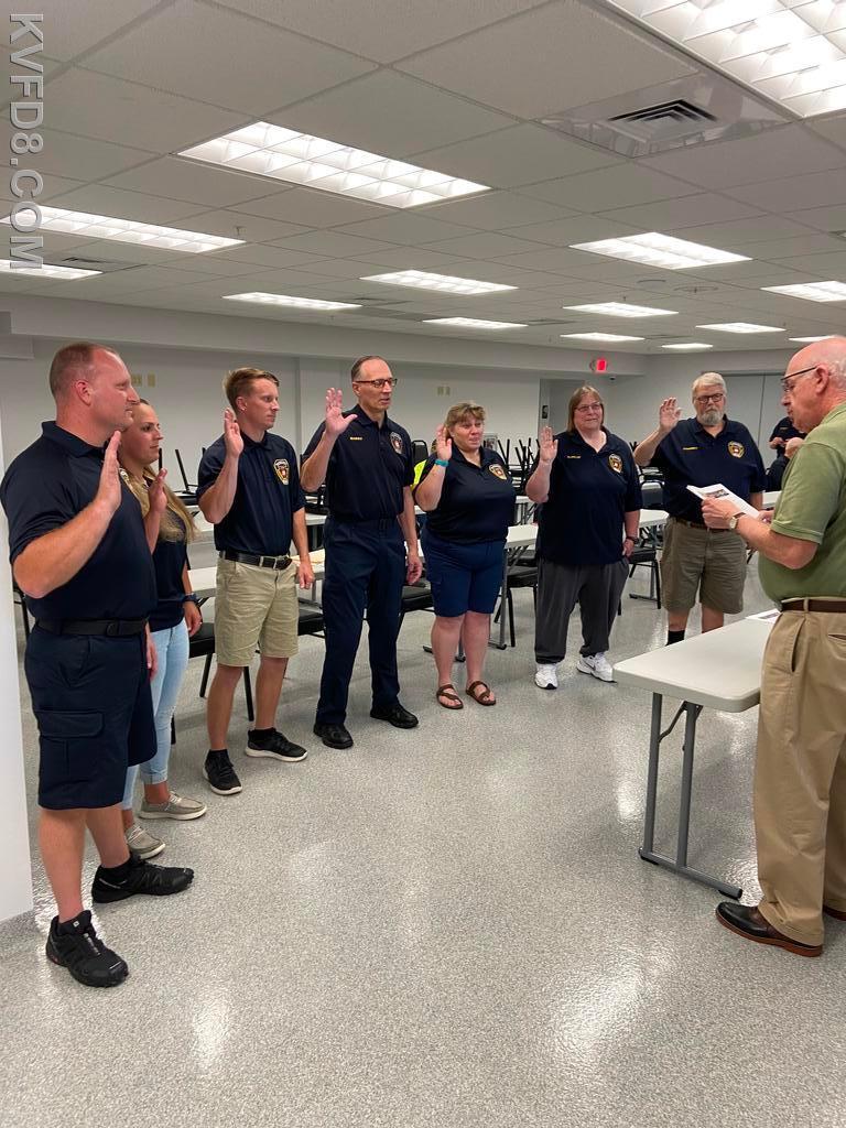 Board of Directors and fire officers were sworn in tonight by Mayor Hagen.