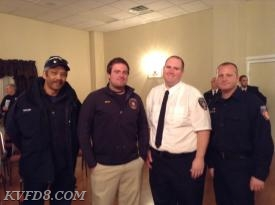 Lt. Taylor, Lt. Smith, FF Holmes and Deputy Chief Gathercole (from L-R)